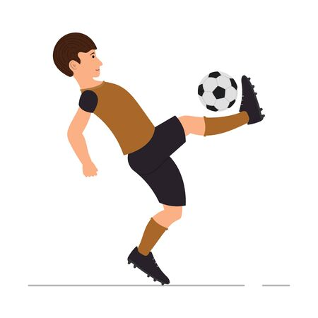 Teenager guy plays football, soccer player, man kicks a soccer ball vector illustration in cartoon style
