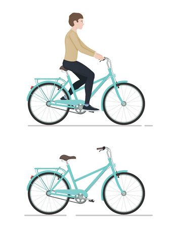 Guy rides a bicycle, character and bike in cartoon style, side view, active lifestyle, sporty man, cycling vector Illustration on a white background