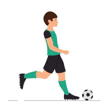 Man plays football, soccer player, man kicks a soccer ball vector illustration in cartoon style.