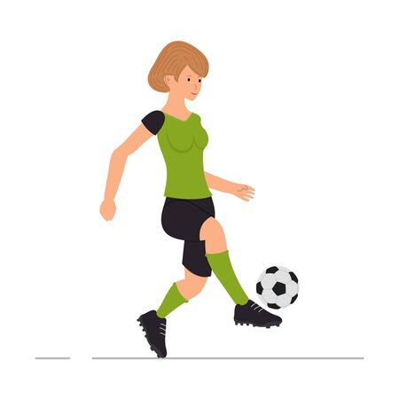 Girl plays football, soccer player, woman kicks a soccer ball vector illustration in cartoon style Illustration