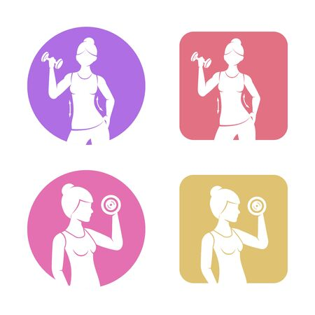 Athletic girl is engaged with a dumbbell flat icons. Fitness and healthy lifestyle vector illustration.