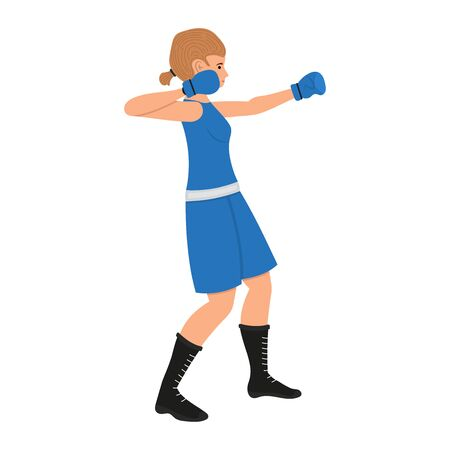 Female boxer cartoon character. Boxing woman vector illustration, girl sportsman isolated on a white background