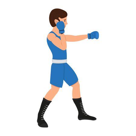 Personaje de dibujos animados de boxeador masculino. Ilustración de vector de chico de boxeo, deportista aislado sobre fondo blanco