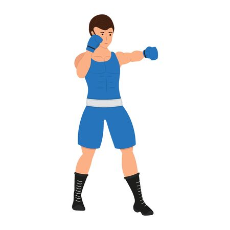 Male boxer cartoon character. Boxing man vector illustration, sportsman isolated on a white background
