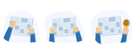 Man reads a newspaper, shows something and drinks coffee or tea. Hands holding a newspaper. Vector illustration in a flat style