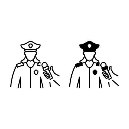 Female policeman interview outline and glyph icons