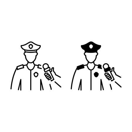 Male policeman interview outline and glyph icons