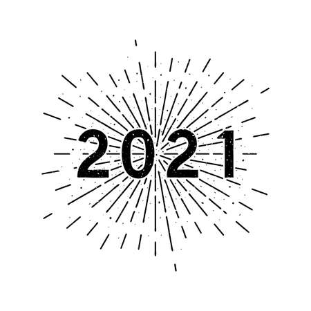 Happy 2021 New Year. Holiday vector illustration with typographic composition and sun rays in the background