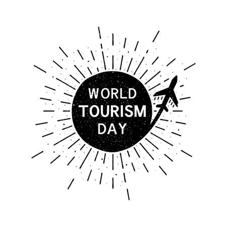 World tourism day with lettering. Holiday grunge vintage illustration with sun rays in the background