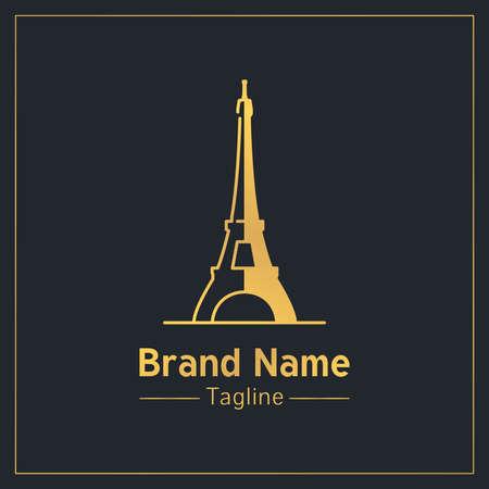 Eiffel Tower golden modern design template