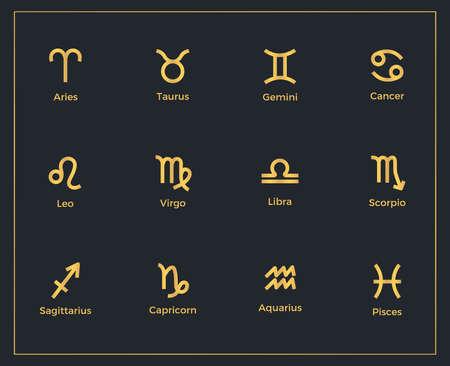 Set of zodiac signs design template Illustration