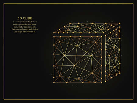 3d cube golden abstract illustration on a dark background. Geometric shape polygonal template made from lines and dots.