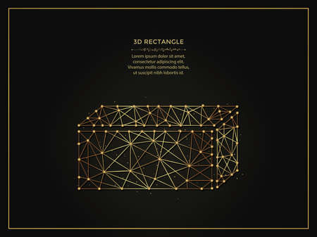 3d rectangle golden abstract illustration on dark background. Geometric shape polygonal template made from lines and dots.