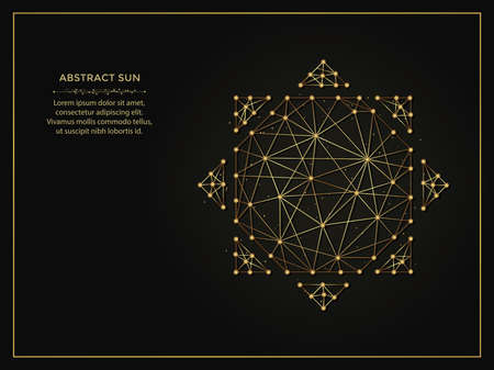 Abstract sun golden abstract illustration on dark background. Geometric shape polygonal template made from lines and dots.
