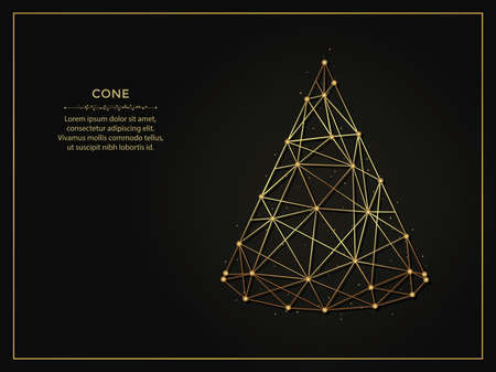 Cone golden abstract illustration on dark background. Geometric shape polygonal template made from lines and dots.