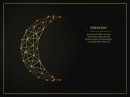 Crescent golden abstract illustration on dark background. Geometric shape polygonal template made from lines and dots.
