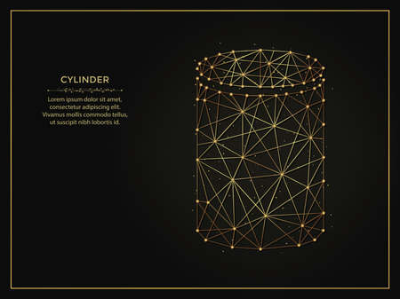 Cylinder golden abstract illustration on dark background. Geometric shape polygonal template made from lines and dots.