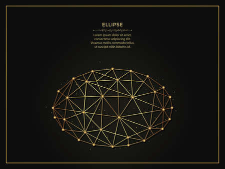 Ellipse golden abstract illustration on dark background. Geometric shape polygonal template made from lines and dots. 向量圖像