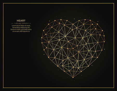 Heart Symbol golden abstract illustration on dark background. Geometric shape polygonal template made from lines and dots.