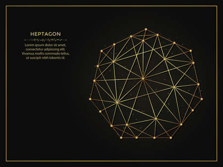 Heptagon golden abstract illustration on dark background. Geometric shape polygonal template made from lines and dots. 向量圖像
