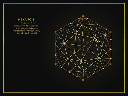 Hexagon golden abstract illustration on dark background. Geometric shape polygonal template made from lines and dots.