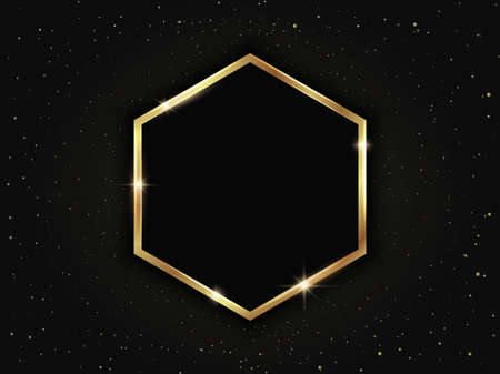 Gold hexagonal frame with particles. Geometric luxury template on dark background