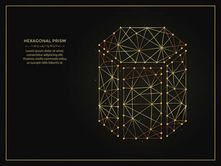 Hexagonal prism golden abstract illustration on dark background. Geometric shape polygonal template made from lines and dots.