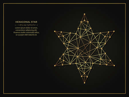 Hexagonal star golden abstract illustration on dark background. Geometric shape polygonal template made from lines and dots. 向量圖像