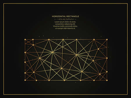 Horizontal rectangle golden abstract illustration on dark background. Geometric shape polygonal template made from lines and dots.