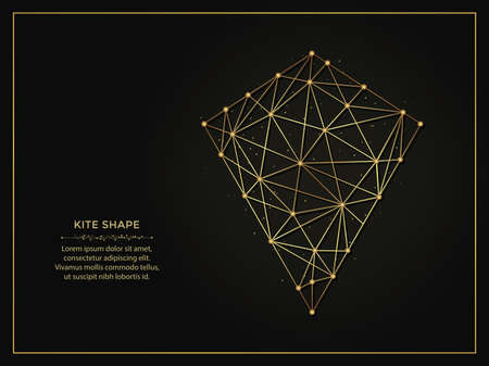 Kite shape golden abstract illustration on dark background. Geometric shape polygonal template made from lines and dots. 向量圖像