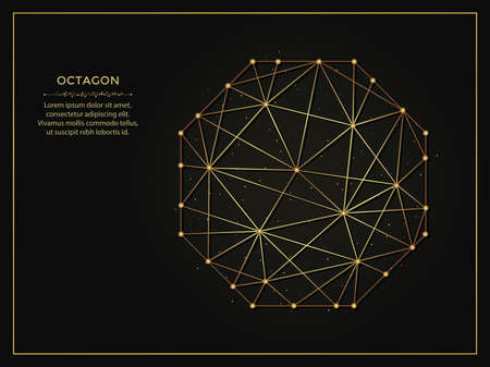 Octagon golden abstract illustration on dark background. Geometric shape polygonal template made from lines and dots. 向量圖像