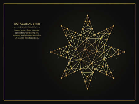 Octagonal star golden abstract illustration on dark background. Geometric shape polygonal template made from lines and dots.