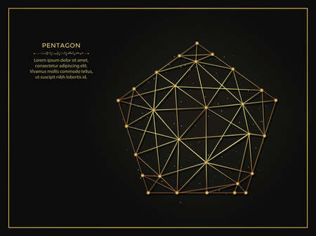 Pentagon golden abstract illustration on dark background. Geometric shape polygonal template made from lines and dots.