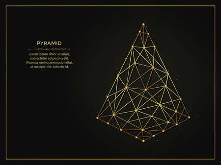 Pyramid golden abstract illustration on dark background. Geometric shape polygonal template made from lines and dots. 向量圖像