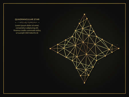 Quadrangular star golden abstract illustration on dark background. Geometric shape polygonal template made from lines and dots.