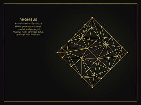 Rhombus golden abstract illustration on dark background. Geometric shape polygonal template made from lines and dots.