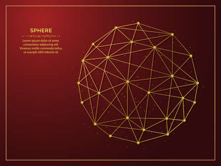 Sphere golden abstract illustration on dark red background. Geometric shape polygonal template made from lines and dots.