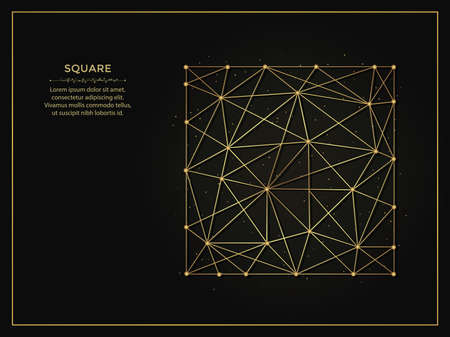 Square golden abstract illustration on dark background. Geometric shape polygonal template made from lines and dots.