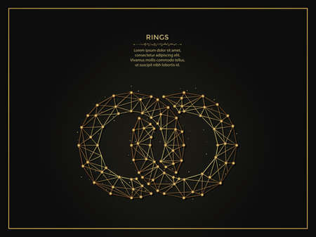 Connected rings golden abstract illustration on dark background. Geometric shape polygonal template made from lines and dots.