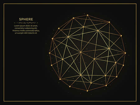 Sphere golden abstract illustration on dark background. Geometric shape polygonal template made from lines and dots. 向量圖像