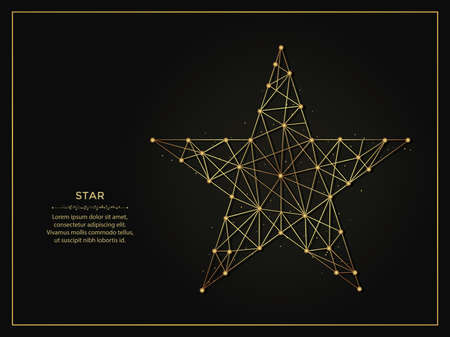 Pentagonal Star golden abstract illustration on dark background. Geometric shape polygonal template made from lines and dots.