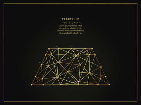 Trapezium or trapezoid abstract illustration on dark background. Geometric shape polygonal template made from lines and dots. 向量圖像