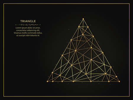 Triangle or delta golden abstract illustration on dark background. Geometric shape polygonal template made from lines and dots. 向量圖像