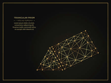 Triangular prism golden abstract illustration on dark background. Geometric shape polygonal template made from lines and dots.