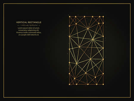 Vertical rectangle golden abstract illustration on dark background. Geometric shape polygonal template made from lines and dots. 向量圖像
