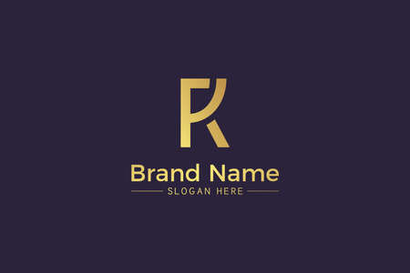 Combination of letter R and K golden design isolated on purple background. RK monogram