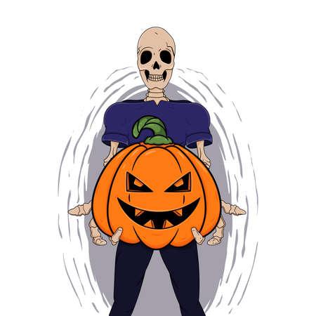 Skeleton holds Halloween pumpkin vector art isolated on white background. Halloween monsters in cartoon style.