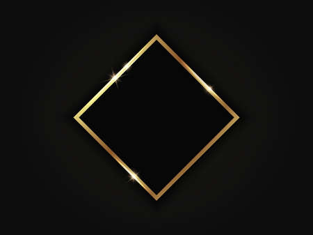 Golden sparkling rhombus frame isolated on black background.