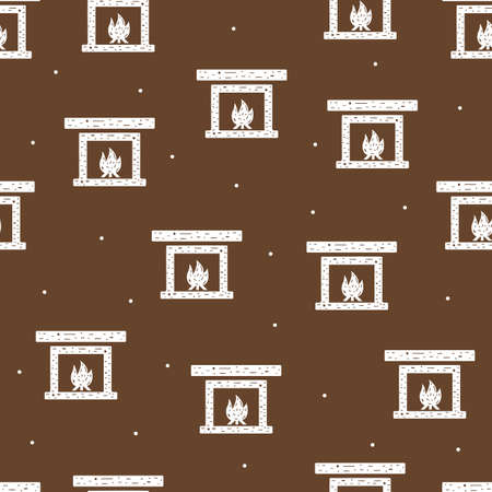 Seamless pattern of fireplace and fire in flat style on a brown background.