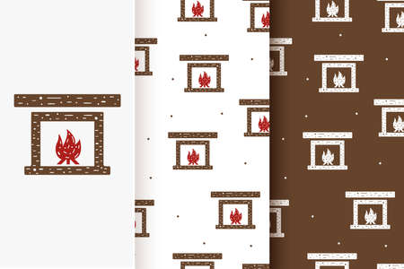 Set of seamless patterns of fireplace with fire in flat style.